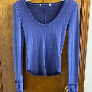 Free People Dip Dye Purple Thermal Shirt Size XS
